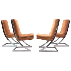 1970s DIA Chrome Z-Dining Chairs in the style of Milo Baughman