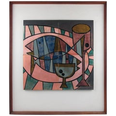 Mid-Century Modern Stylized Still Life Enamel on Copper Panel by Judith Daner