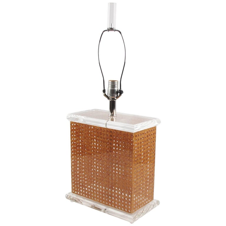 Mid Century Modern Lucite and Rattan Tall Table Lamp, Italy circa 1970s