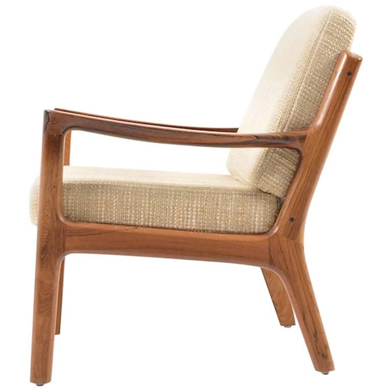 Rare Senator Easy Chair in Rosewood by Ole Wanscher 1