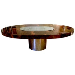 Paul Evans Burl Wood and Chrome Dining Table for Directional, circa 1970s