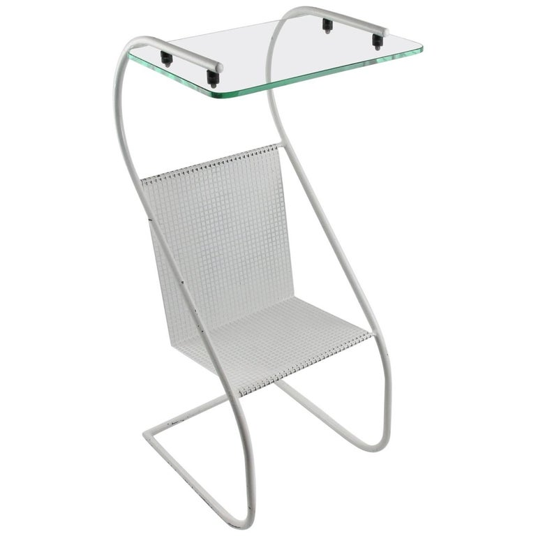 Mid-Century Modern White Metal Side Table and Magazine Rack, France, 1950s 1