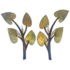 Pair of Brass Branch Sconces, 1970s