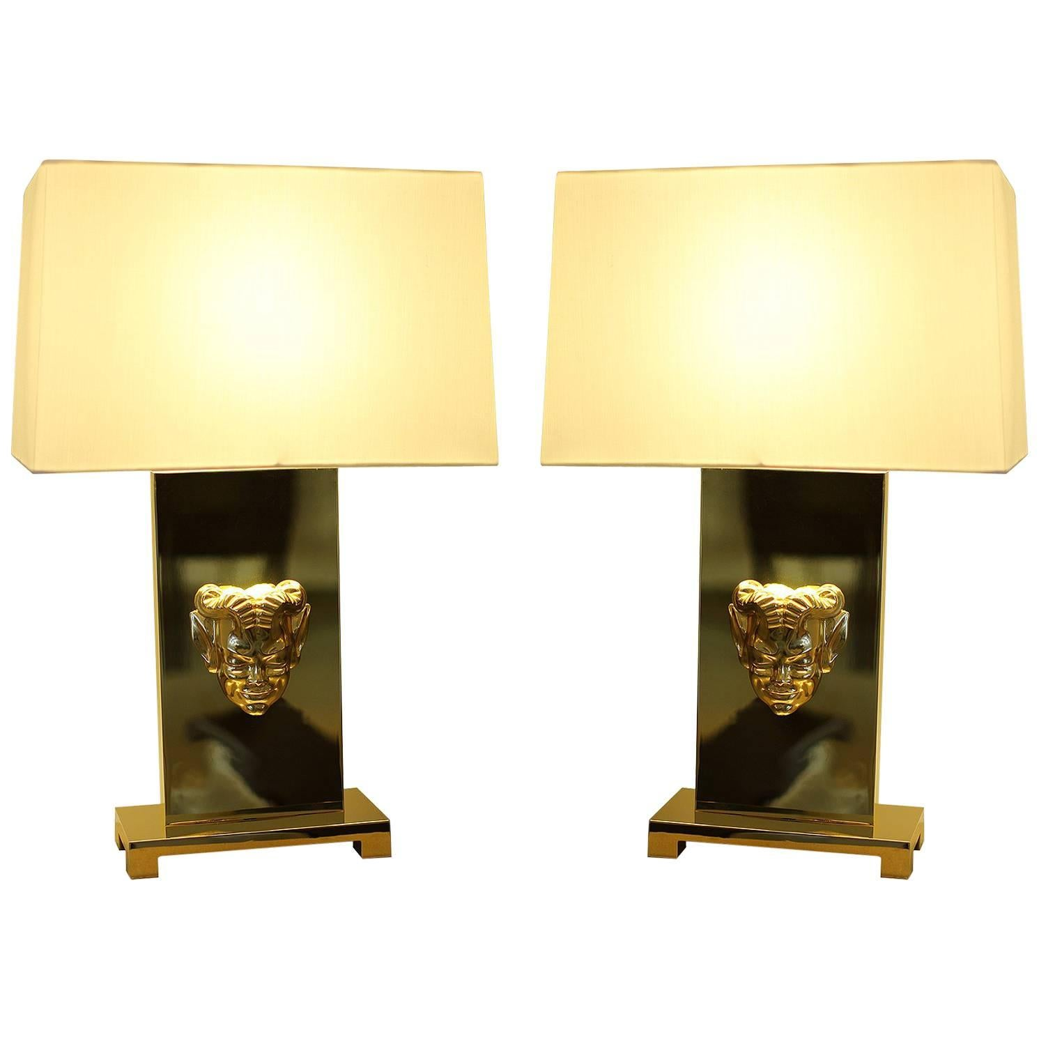 Philip Neri Pair of Gilt Bronze Table Lamps