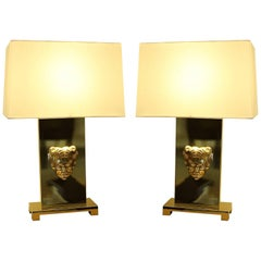 Philip Neri Pair of Gilt Bronze Table Lamps