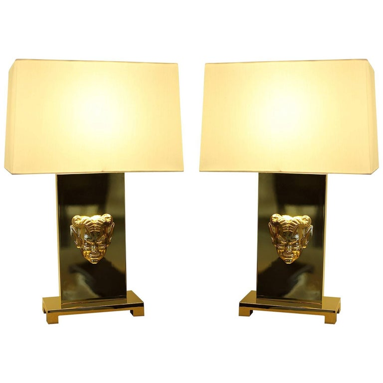 Philip Neri Pair of Gilt Bronze Table Lamps  For Sale