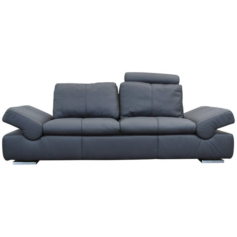 musterring linea designer leather sofa black three seat couch function for sale at 1stdibs. Black Bedroom Furniture Sets. Home Design Ideas