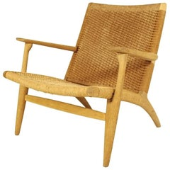 Hans J Wegner CH25 Lounge Chair in Oak and Papercord, 1950s