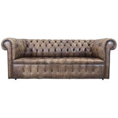 Chesterfield Sofa Brown Beige Leather Three-Seat Couch Vintage Retro