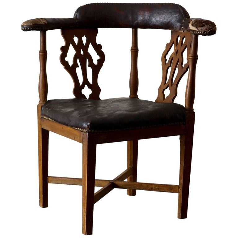 Corner Dining Chair: Chair Corner Swedish Leather Rustic Sweden For Sale At 1stdibs