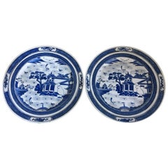 20th Century Pair of Canton Blue and White Plates