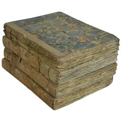 Sets of Antique 18th Century Books with Marbleized Bindings
