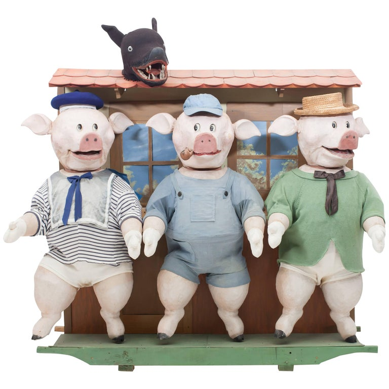 Decorative puppetry displaying Joseph Jacobs fable Three Little Pigs 1930 For Sale