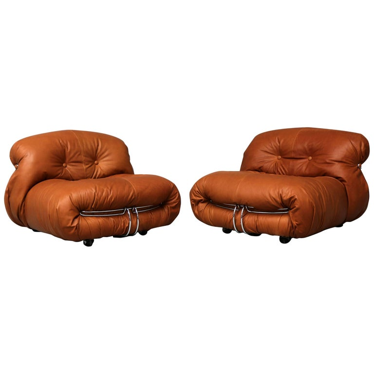 Pair of Soriana Lounge Chairs by Tobia Scarpa and Edited by Cassina For Sale