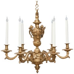 Louis XIV Style Gilt Bronze Six-Light Chandelier after a Design by Boulle