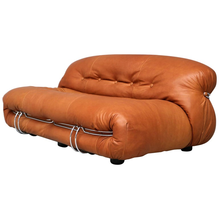 Tobia Scarpa Soriana Sofa 1970s, Fully Restored Cognac Leather