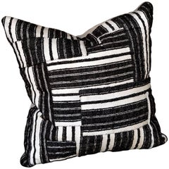 Hand-Stitched Black and White Striped Patchwork Cushion
