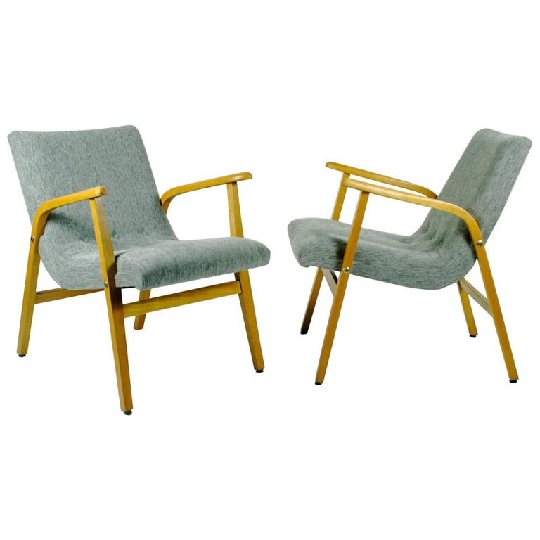 Pair Of Café Ritter Beechwood Armchairs Designed By Roland Rainer