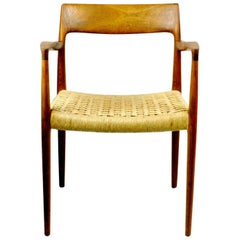 Niels Otto Möller Mod. 57 Teak Armchair with Papercord Seat