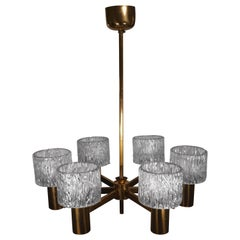 Six-Arm 1950s Swedish Modern Chandelier by Carl Fagerlund for Orrefors