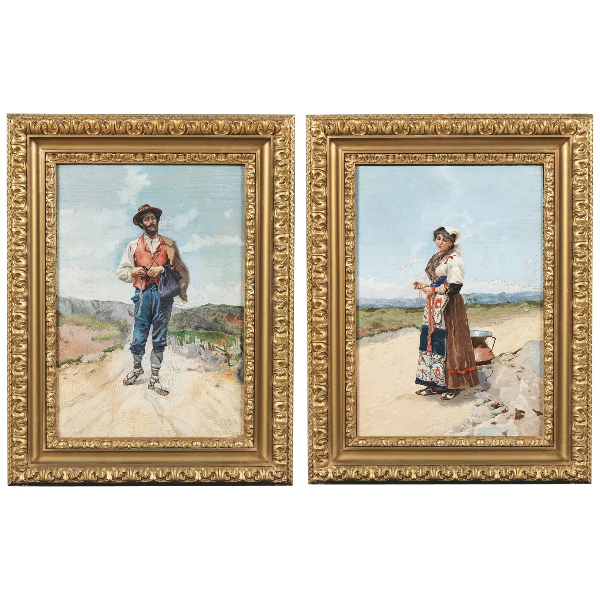 Pair of Italian Portraits Made of Handcrafted Micromosaic Tiles
