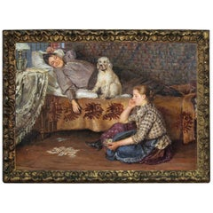 Antique Russian Master Painting, Young Girl with Dog