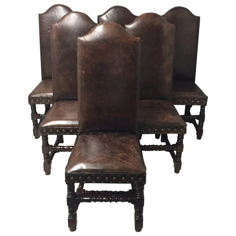 Set of Six Very Handsome Distressed Leather and Walnut  : 8205593master from www.1stdibs.com size 768 x 768 jpeg 56kB