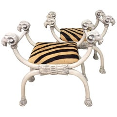 Dramatic Pair of Ram's Head Benches with Printed Cowhide Zebra Motife Seats