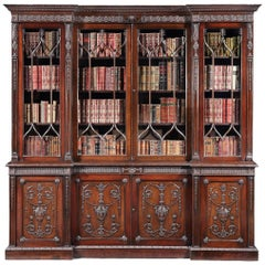 19th Century English Mahogany Four-Door Bookcase in the Neoclassical Manner
