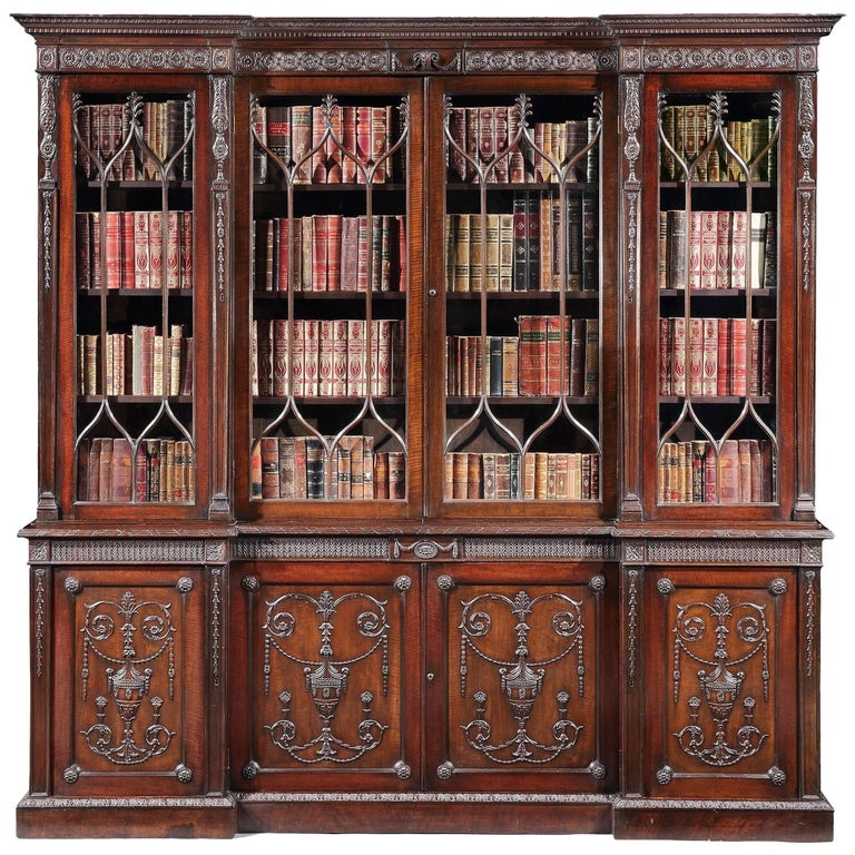 19th Century English Mahogany Four-Door Bookcase in the Neoclassical Manner For Sale