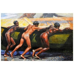 'Launching the Boat' Important Large Work by Barrington Watson Jamaica 1931-2016