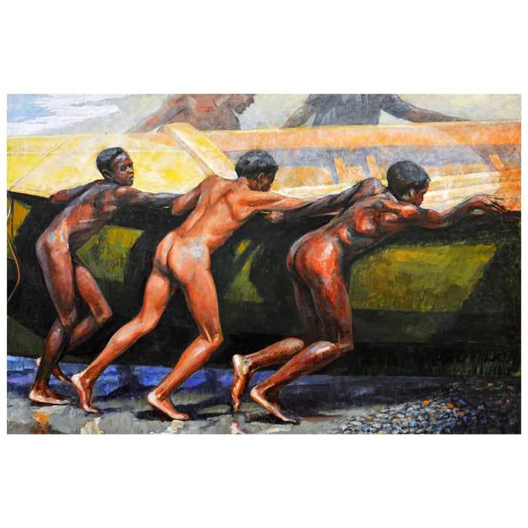 'Launching the Boat' Important Large Work by Barrington Watson Jamaica 1931-2016 1