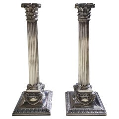 Pair of Victorian George III Style Corinthian Candlesticks