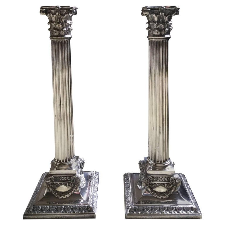 Pair of Victorian George III Style Corinthian Candlesticks For Sale