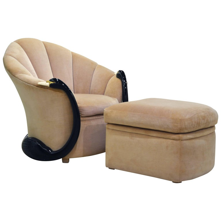 The Unique Swan 'Leda' Lounge Chair and Ottoman by Vermillion of Beverly Hills For Sale