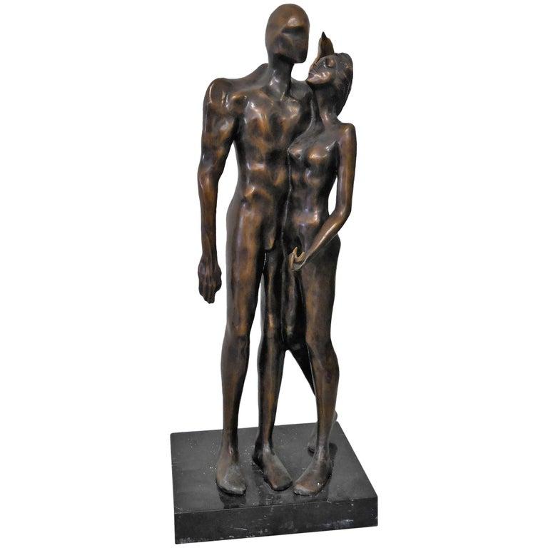 Modern Bronze Sculpture on Marble Base