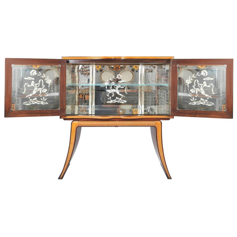 1950s Mahogany Drinks Cabinet with Mirrors by Atelier Borsani For Sale