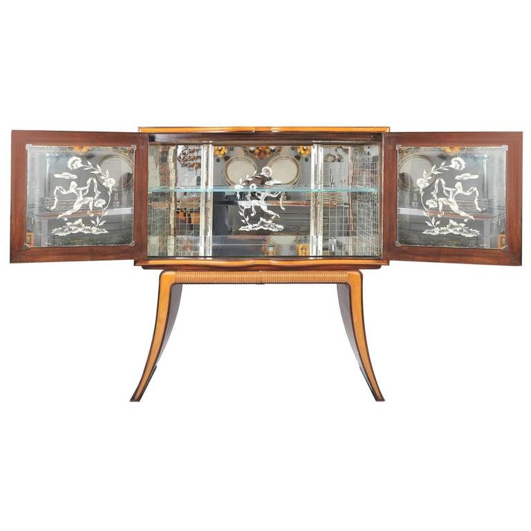 1950s Mahogany Drinks Cabinet with Mirrors by Atelier Borsani