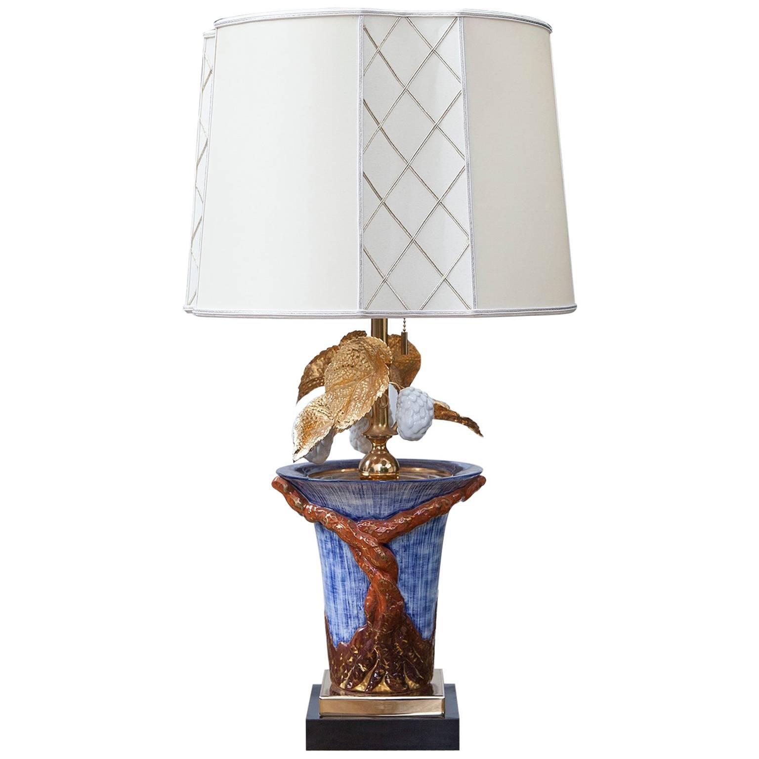Colorful Porcelain Leaf Table Lamp