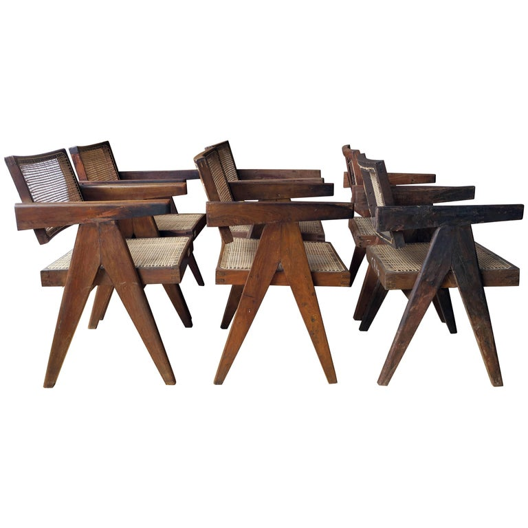 Pierre Jeanneret Grouping of Six Floating Back Armchairs