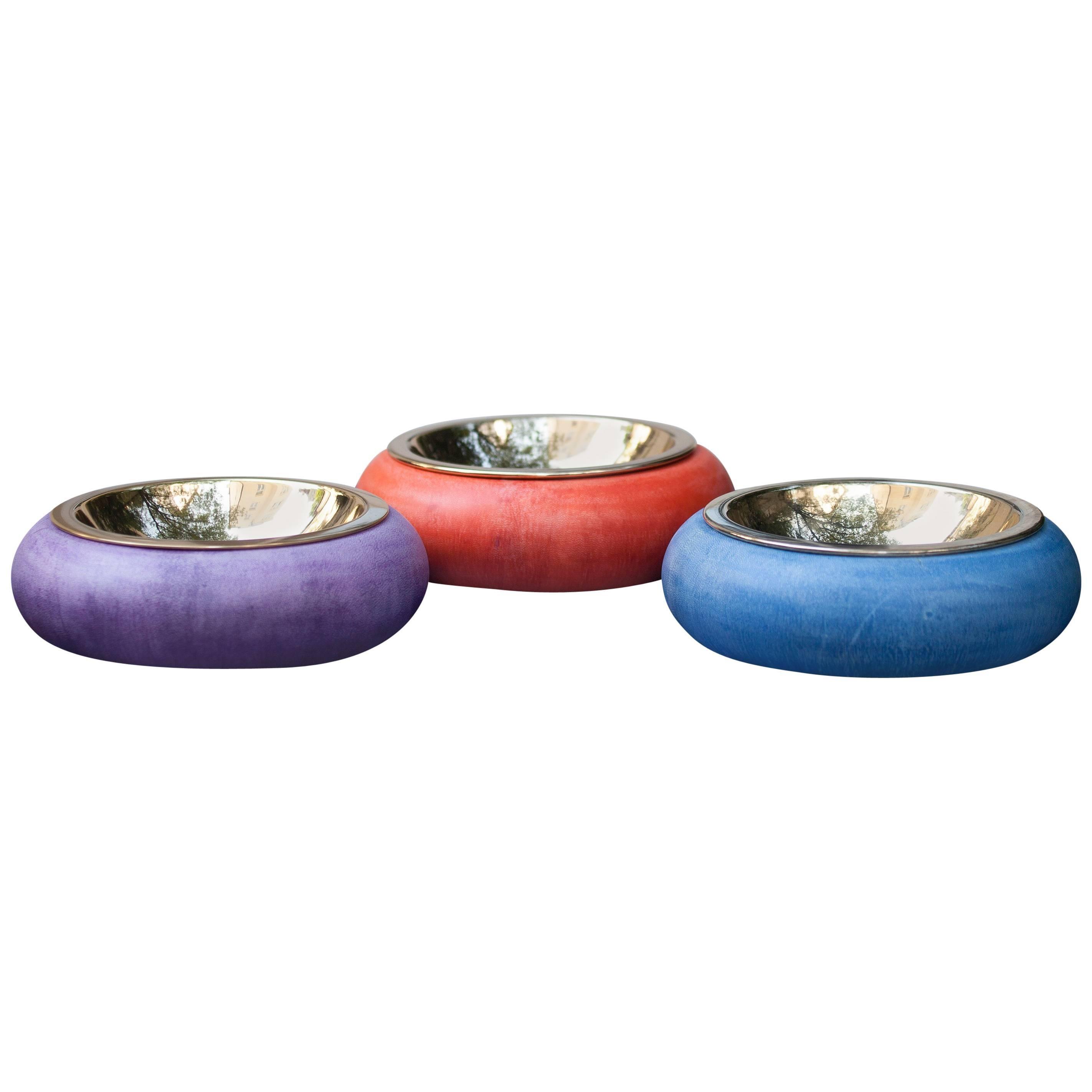 Aldo Tura Colorful Goatskin Bowls Set of Three