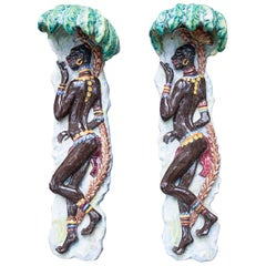 Fantastic African Dancing Women Ceramic Wall Appliques Set of Two, 1950