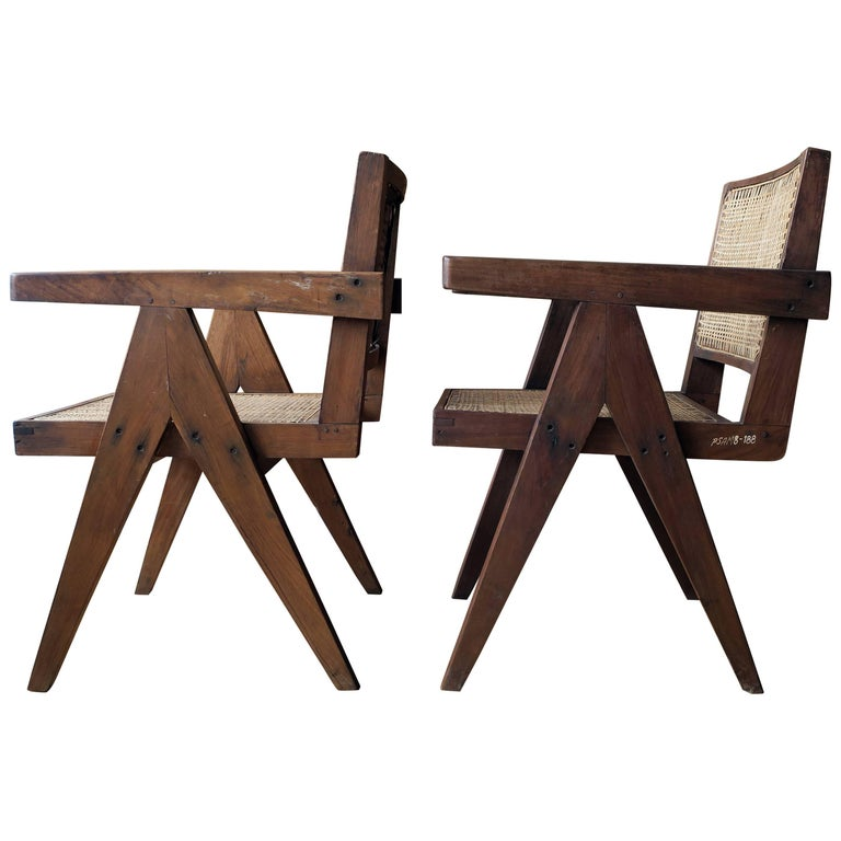 """Pierre Jeanneret Pair of """"V-Leg"""" Armchairs from Chandigarh 1"""