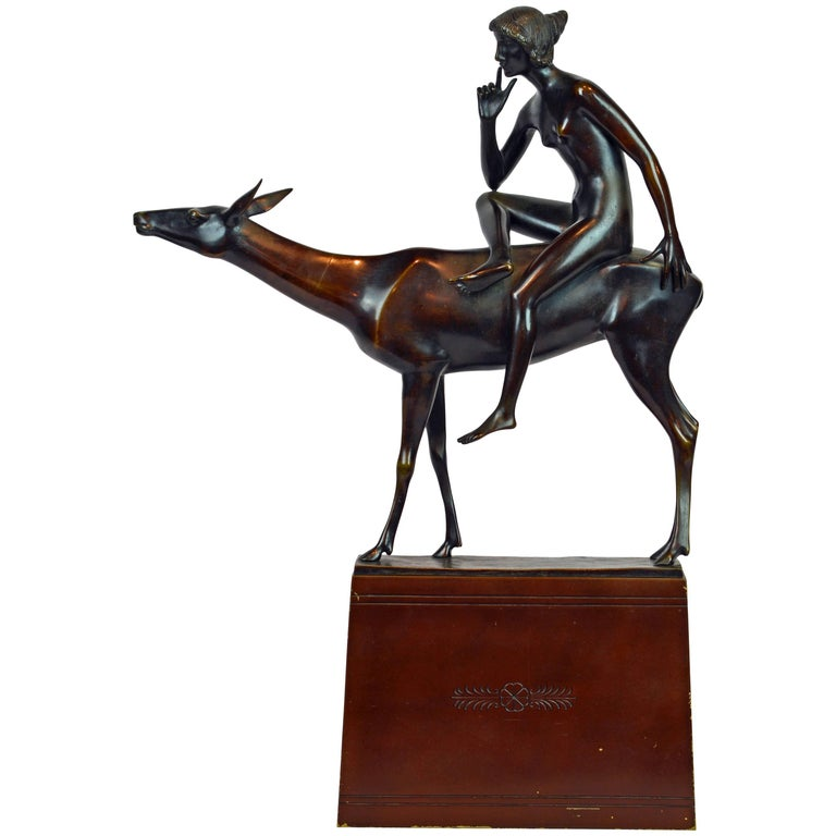 'Young Woman on a Deer' Unique Large Art Deco Bronze Sculpture by Paul Peterich 1