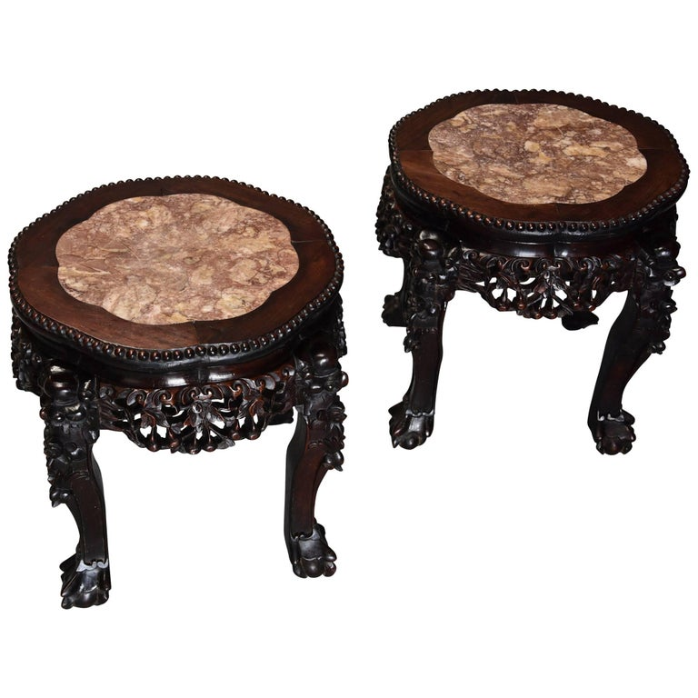 Pair of Late 19th Century, Chinese Pot Stands or Low Tables For Sale