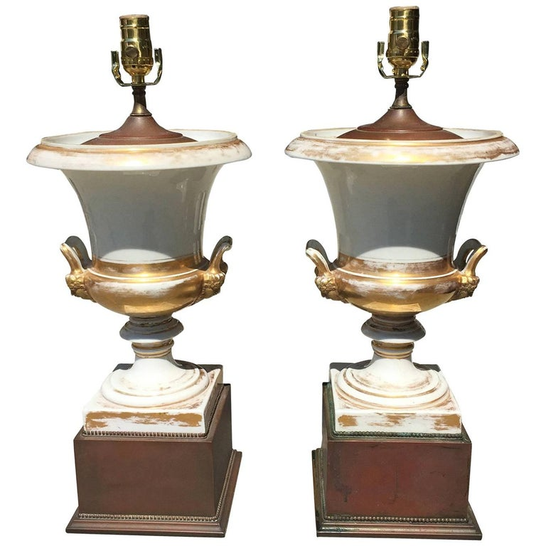 Pair of 19th Century Old Paris Lamps, Custom Base 1