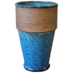 Ceramic Vase in Dark Blue Glaze by Hermann Kähler, 1960s