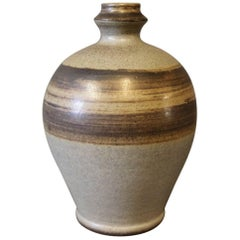 Ceramic Vase in Brown Colors from the 1960s