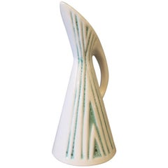 Ceramic Jug in White and Turquoise Colors by Michael Andersen and Son, 1960s