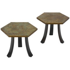 Pair of Harvey Probber Acid-Etched Bronze Tables